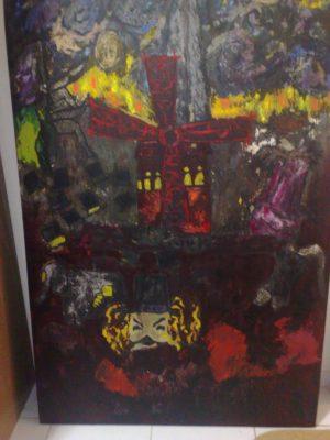 Pintura com óleo e guache lavado, dimensões : 1,60×1,00 ms.