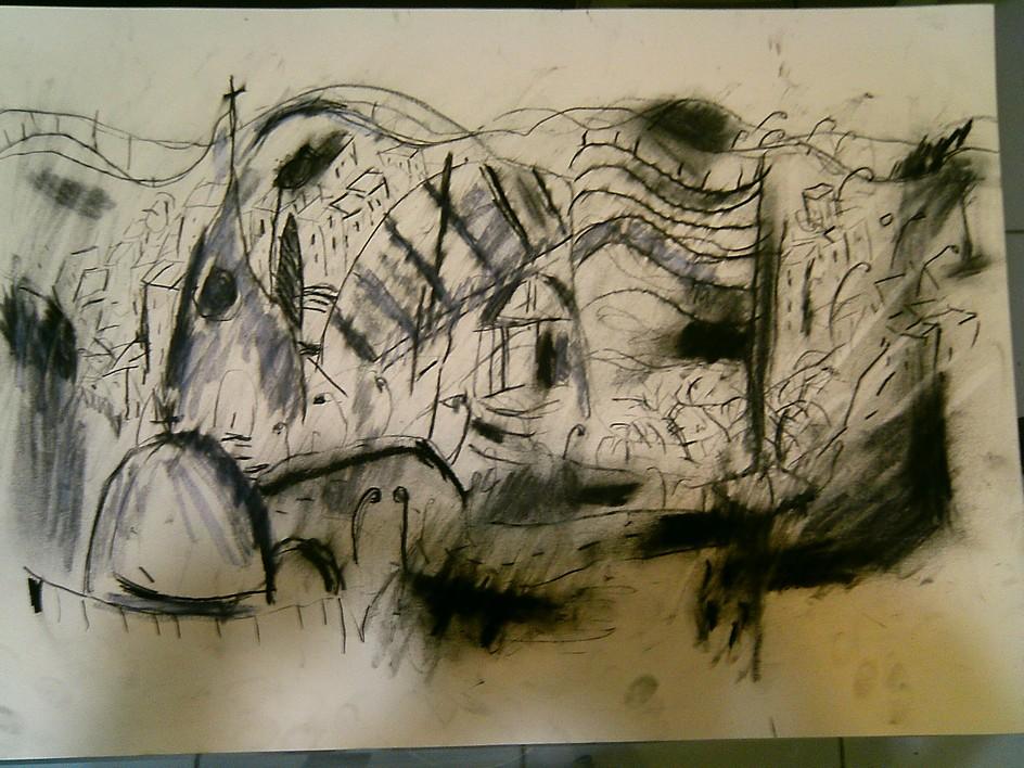 Desenho conté e carvão galeria de arte online