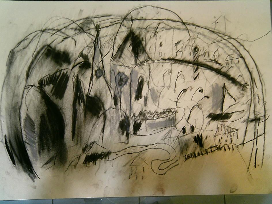 Desenho conté e carvão