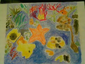Aquarela fundo do mar