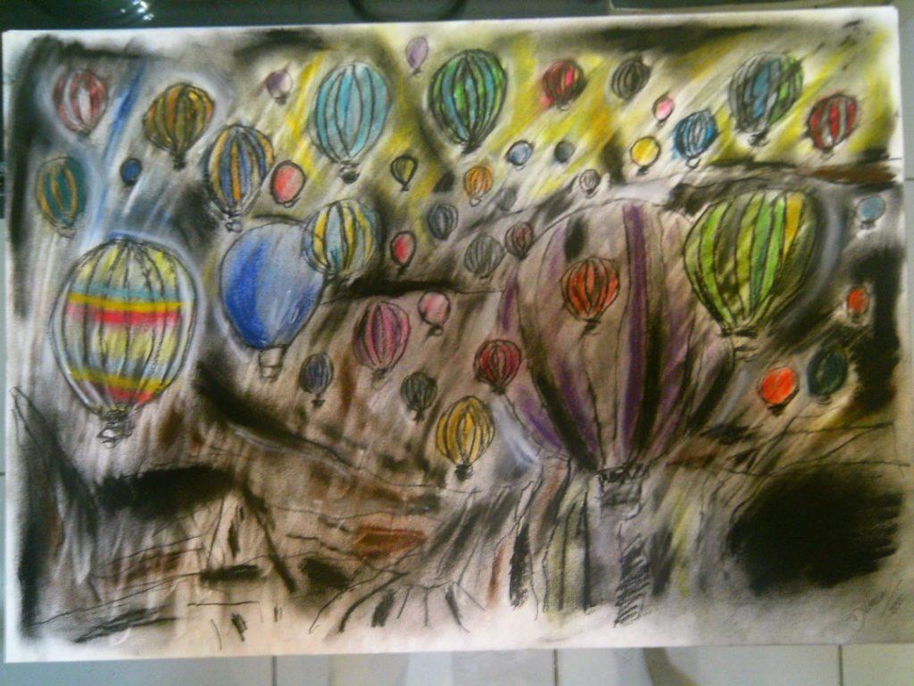 Balões com visão do chão